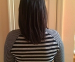 Remember the client in the previous picture from RIC, VA. Feb '10. Here she is with 4-5 inches of new hair growth!! Her hair is growing in lighter and fast! We were able to apply less extensions this time as well due to her new improved growth.